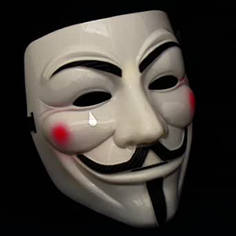 (style1) - 1 X ANONYMOUS V FOR VENDETTA GUY FAWKES FANCY DRESS COSTUME FACE MASK YELLOW CREAM