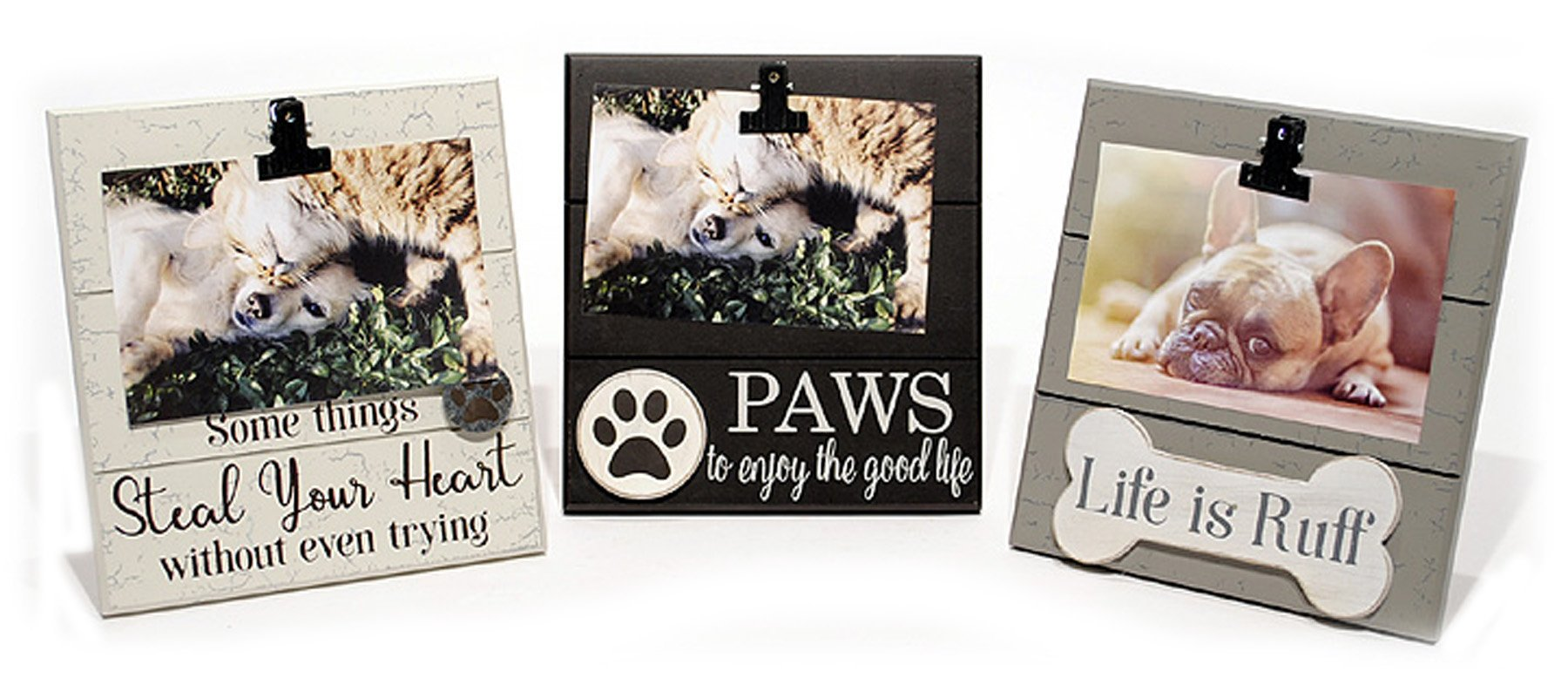 youngs Wood Pet Paws (Dog or Cat) Photo Clip Picture Holder - Set of 3