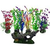 Aisamco Plantas acuáticas Artificiales, 6 Piezas de Plantas de Acuario, 1 Piezas de Acuario