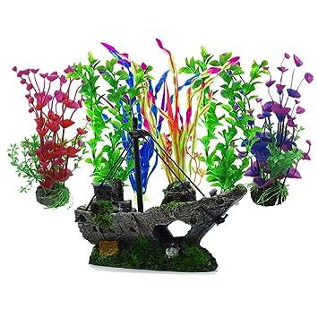 7 Stück Großen Kunststoff Pflanzen Aquarium Pietypet Aquarium Wasserpflanzen Fische & Aquarien