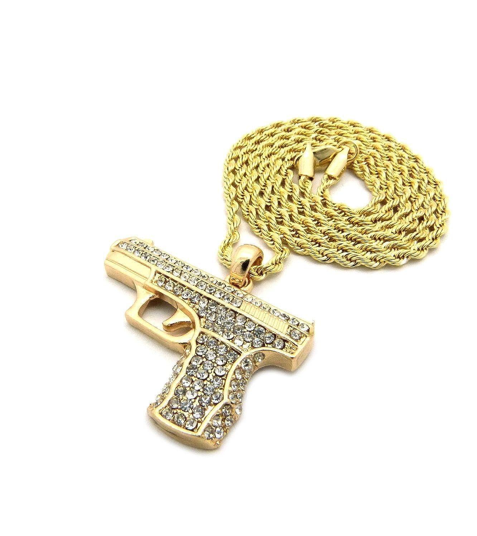 Los hombres de la pistola Chapado oro Micro colgante hierro cuerda cadena