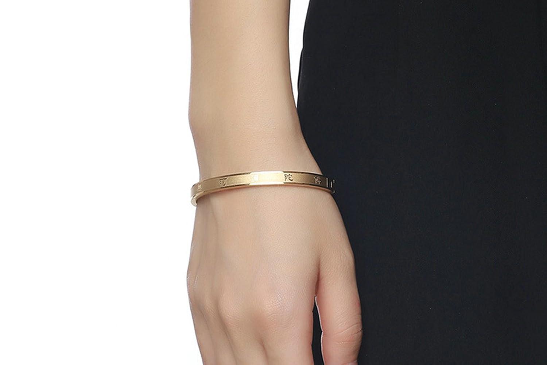 ANAZOZ Women Bracelet Womens Stainless Steel 6MM Buddhism Bangle Bracelet