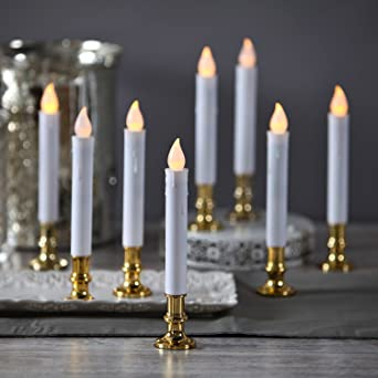 Flameless White LED Taper Candles With Gold Removable Candle Holders,  Remote U0026 Batteries Included