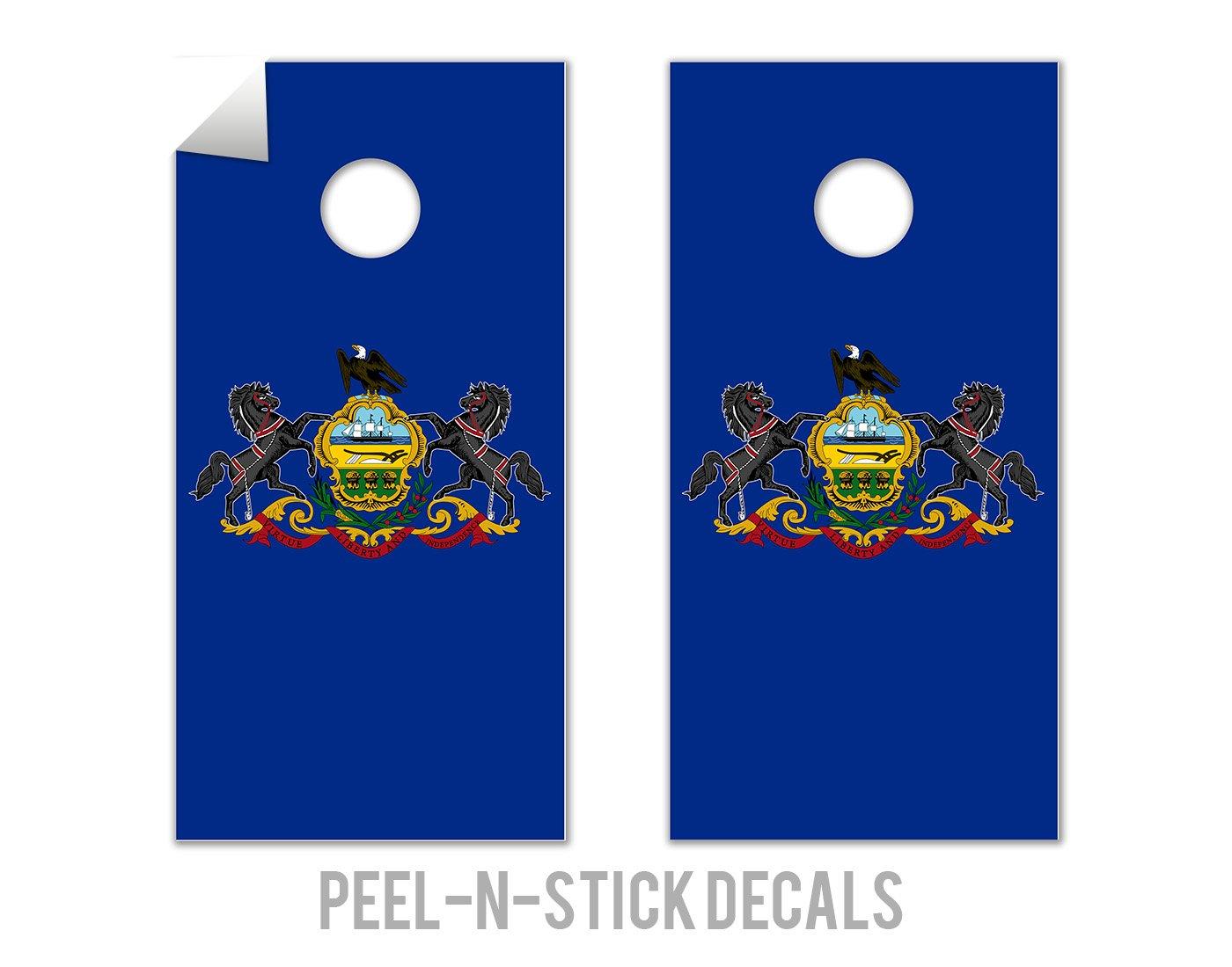 Pennsylvania State Flag - Cornhole Crew - ACA Regulation Size Cornhole Board Decals by The Cornhole Crew