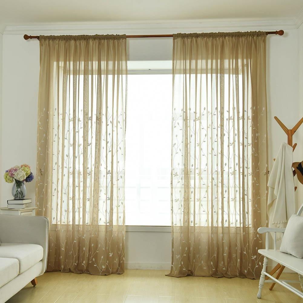 AFfeco ricamo stampa tenda finestra screening Home filato in tulle tenda (oro)