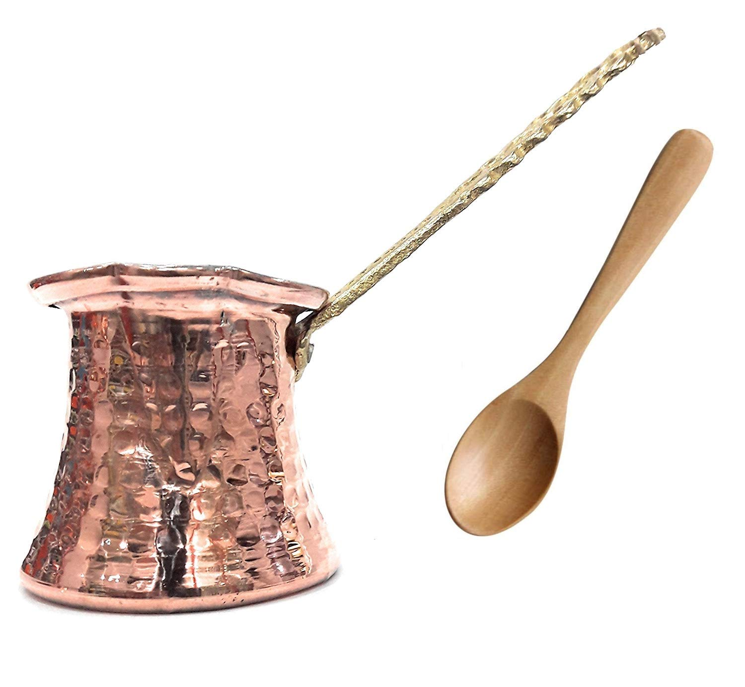 The Silk Road Trade - MC Series (X-Small) - Hammered Copper Turkish Greek Coffee Pot, Cezve, Ibrik, Coffee Maker with Premium Brass Handle - (4.5 fl oz) with Gift Wooden Spoon