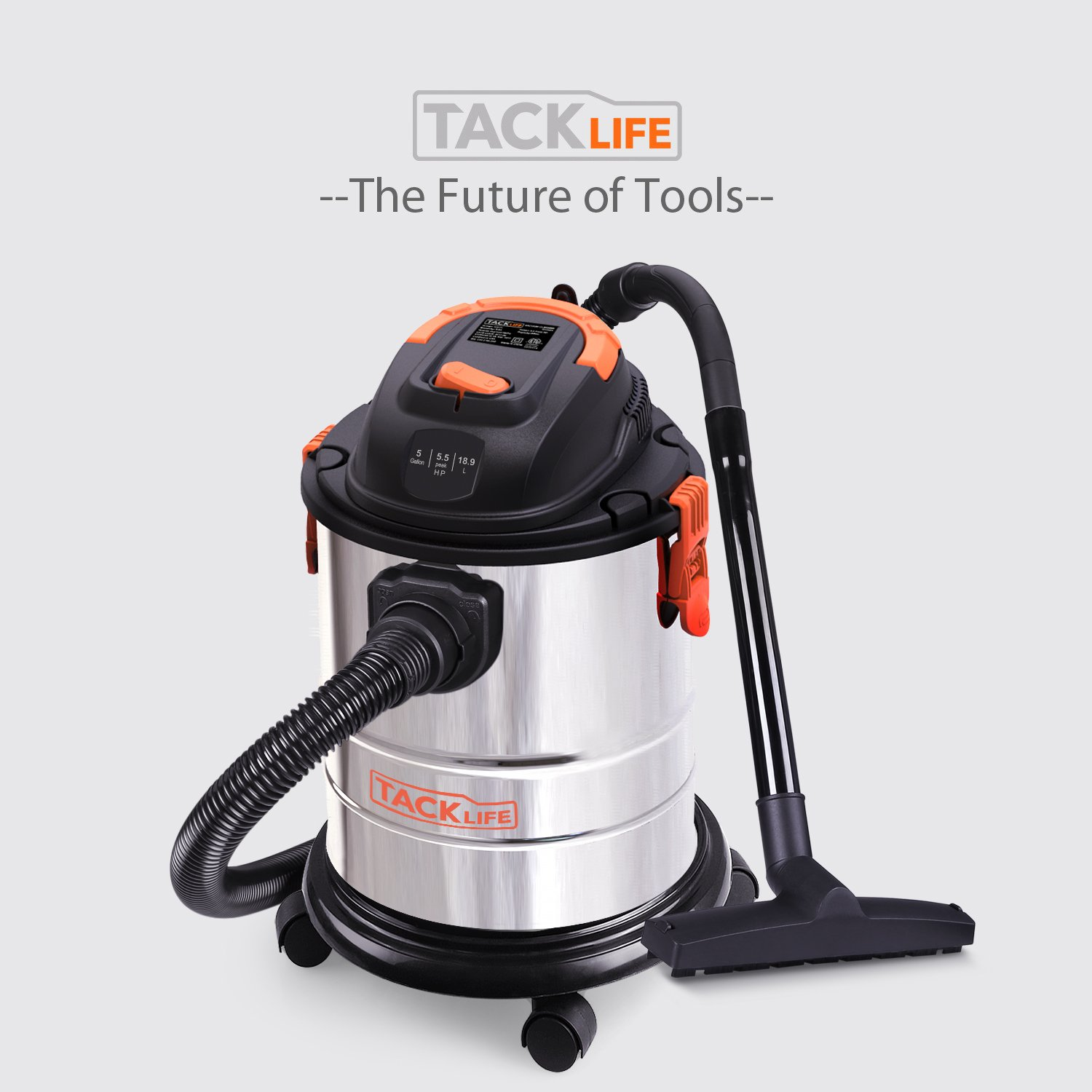 Stainless Steel Wet//Dry//Blow 3 in 1 Multifunction 1000W Pure Copper Motor Wet Dry Vacuum 4-Layer Filtration System,Portable Shop Vac with Attachments TACKLIFE 5 Gallon 5.5 Peak HP Shop Vacuum
