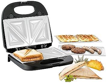 BEEM Germany Multi-Star 5-in-1 - Máquina para hamburguesas y donuts, gofrera, sandwichera, tostador de bocadillos, parrilla, plancha