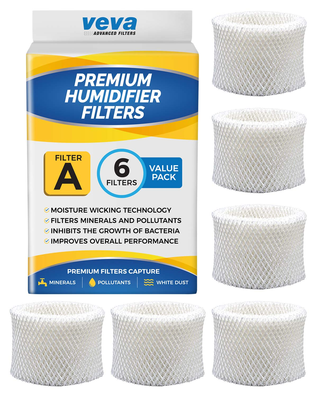 VEVA 6 Pack Premium Humidifier Filters Replacement for HW Filter A, HAC-504, HAC-504AW, HCM 350 and Other Cool Mist Models by VEVA