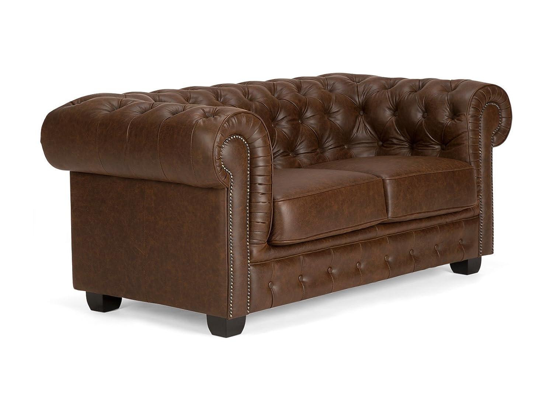 Massivum 10017070 Chesterfield Sofa 2Sitzer Vintage Echtleder Leder, braun, 95 x 172 x 77 cm