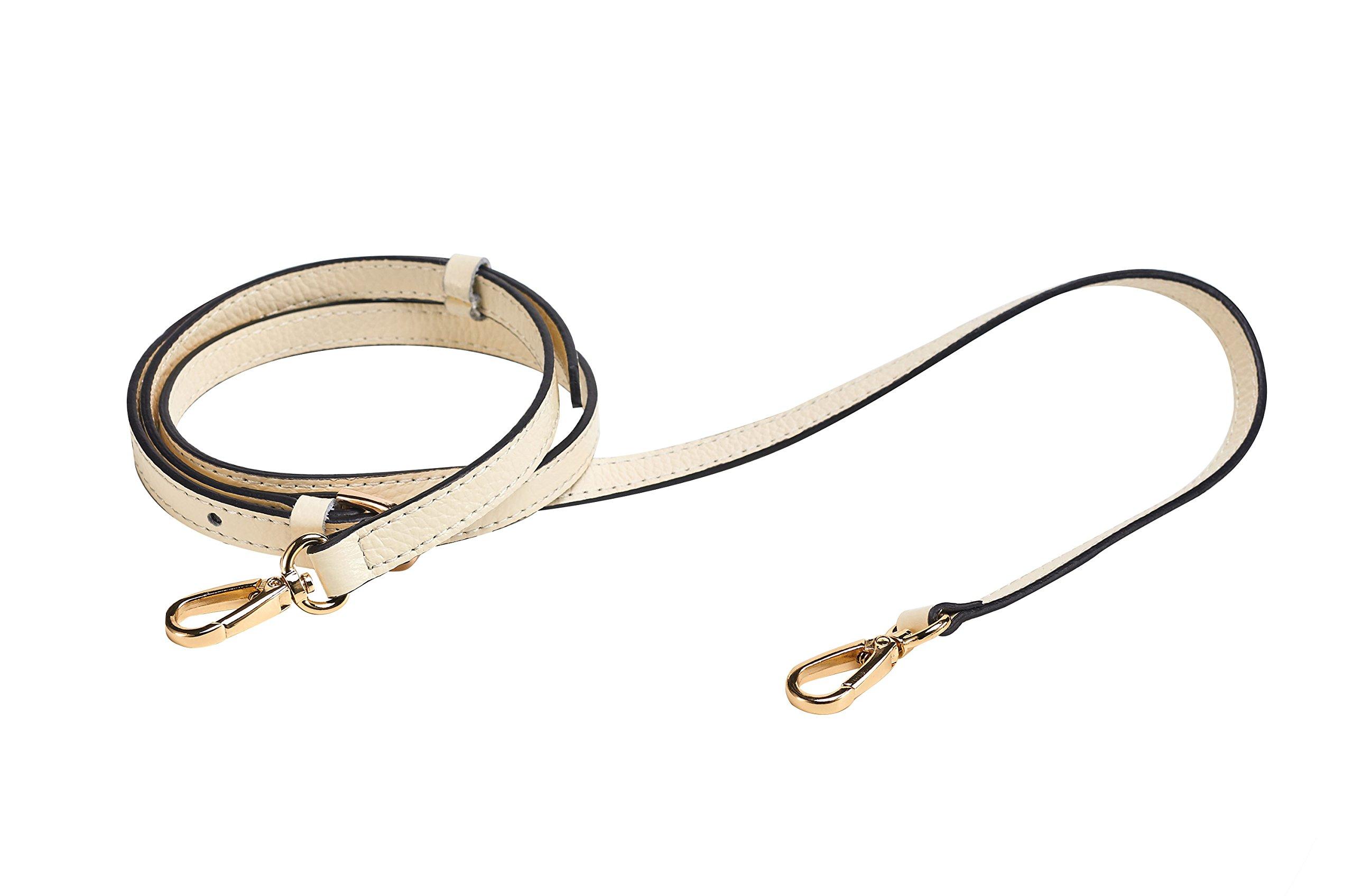 Beige 26-51 inch Gold Hardware 1.8 cm Width VanEnjoy Full Grain Leather Adjustable Replacement Strap Cross Body Bag Purse