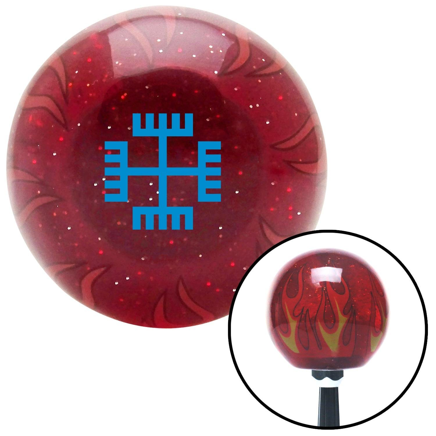 American Shifter 238649 Red Flame Metal Flake Shift Knob with M16 x 1.5 Insert Blue Hands of God