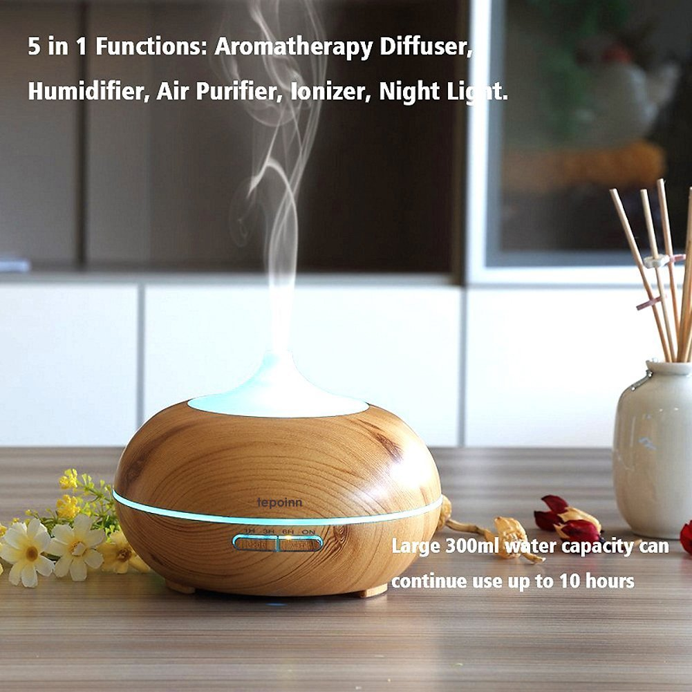 Tepoinn Ultrasonic Aromatherapy Diffuser 300ML Aroma Essential oil Diffuser Cool Mist Humidifier Wood Grain Air Purifier With 7 Color Changing LED lights & 4 time-setting For Home, Yoga, Office, Spa,Skin, Bedroom, Baby Room