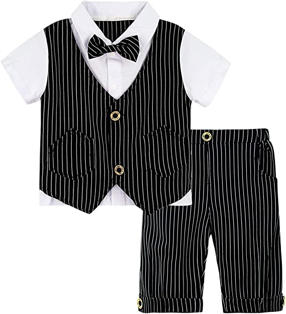 A/&J DESIGN Baby Boys Gentleman Outfit Formal Romper Infant Tuxedo Suits