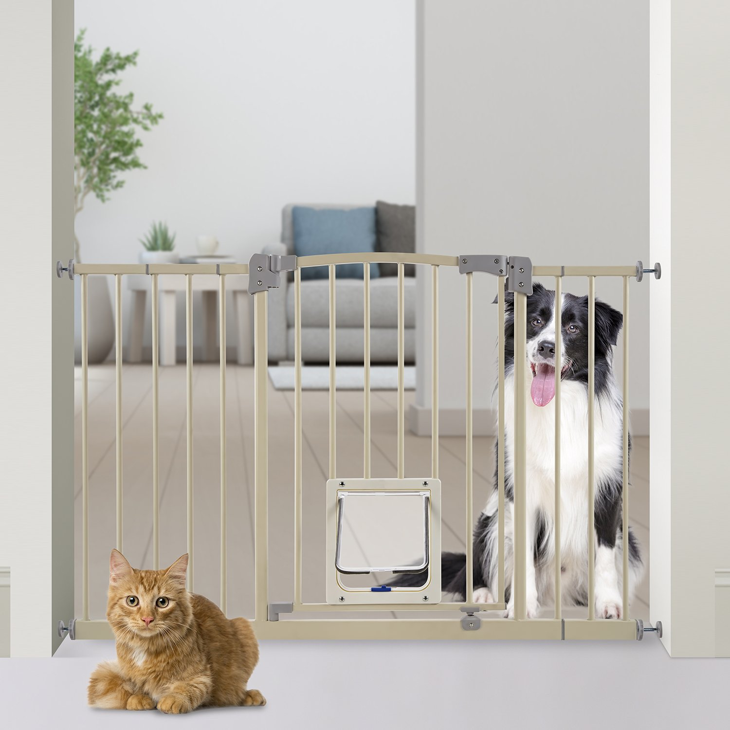 Paws & Pals Dog Gate Multifunctional Indoor Metal Baby Barrier - Adjustable Tall-Wide Fence for House Doorway with Lockable Pet Door Flap- 53'' Max Extendable by Paws & Pals (Image #4)