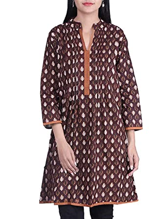 aa1b8985ba Image Unavailable. Image not available for. Colour: Bleuindus Fabulous  Chocolaty Color Ethnic Wear Kurti