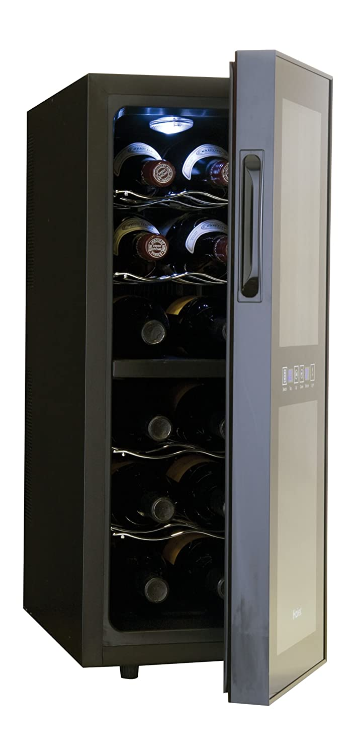 Com Haier Hvtm12dabb 12 Bottle Dual Zone Mirrored Glass Door Wine Cellar Appliances