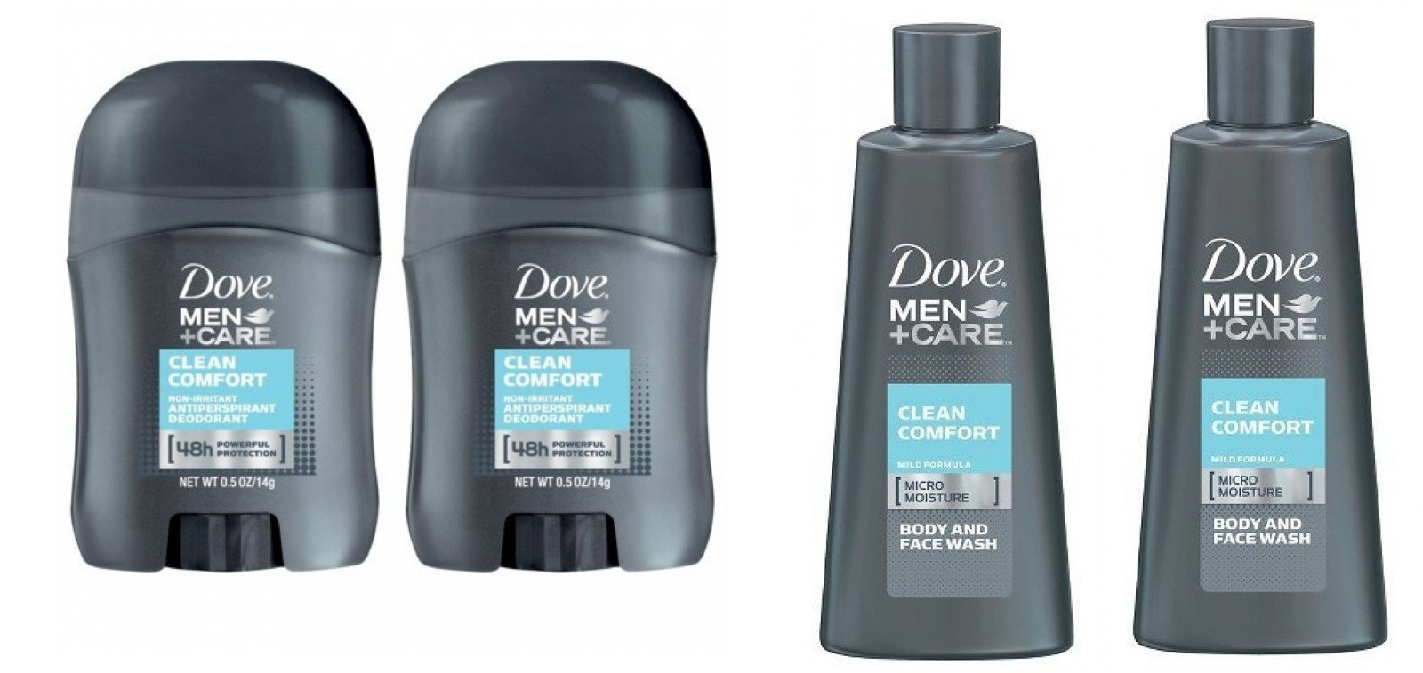 Dove Men + Care Clean Comfort Micro Moisture Mild Body and Face Wash Travel Size 3 Oz (Pack of 2) + Dove Men+Care Clean Comfort Anti-Perspirant Deodorant Travel Size - 0.5 Oz (Pack of 2)