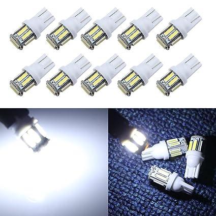 Bombillas LED blancas Grandview T10 W5W 501, para colocar en interior de vehículos o en la placa de matrícula trasera y delantera, 24 V de CC, 10 ...