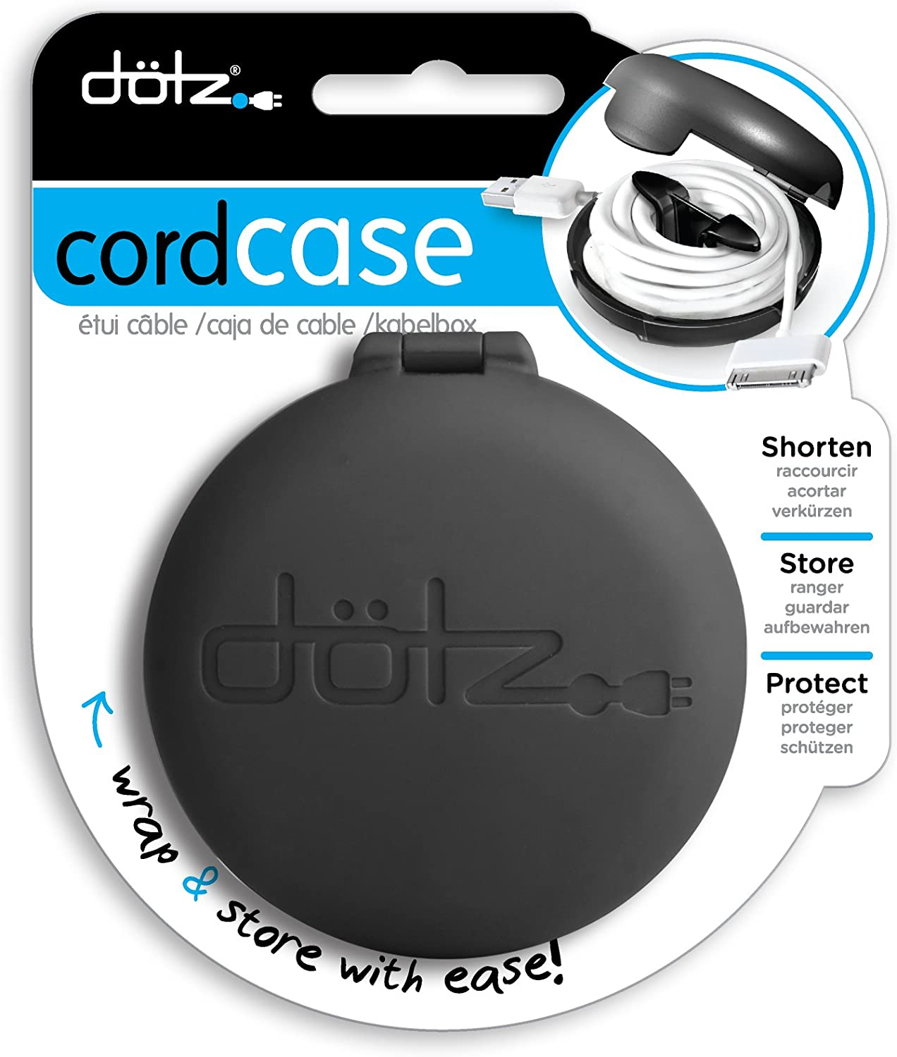 Dotz Cord Wrap for Cord and Cable Management, Black (CWOS30M-CK)