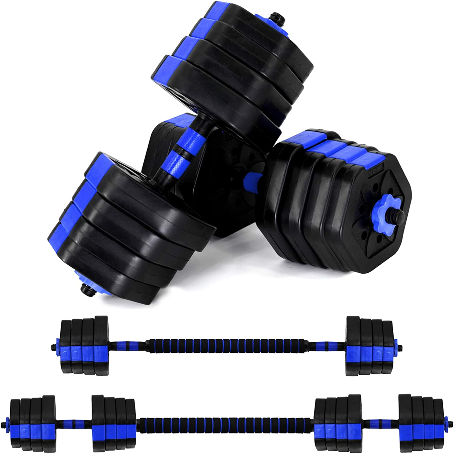 VIVITORY Fitness Dumbbells Set, Adjustable Weight Sets up to 44/66Lbs, Free Weight with Connecting Rod Used As Barbell, Iron Sand Mixture, Hexagon Design