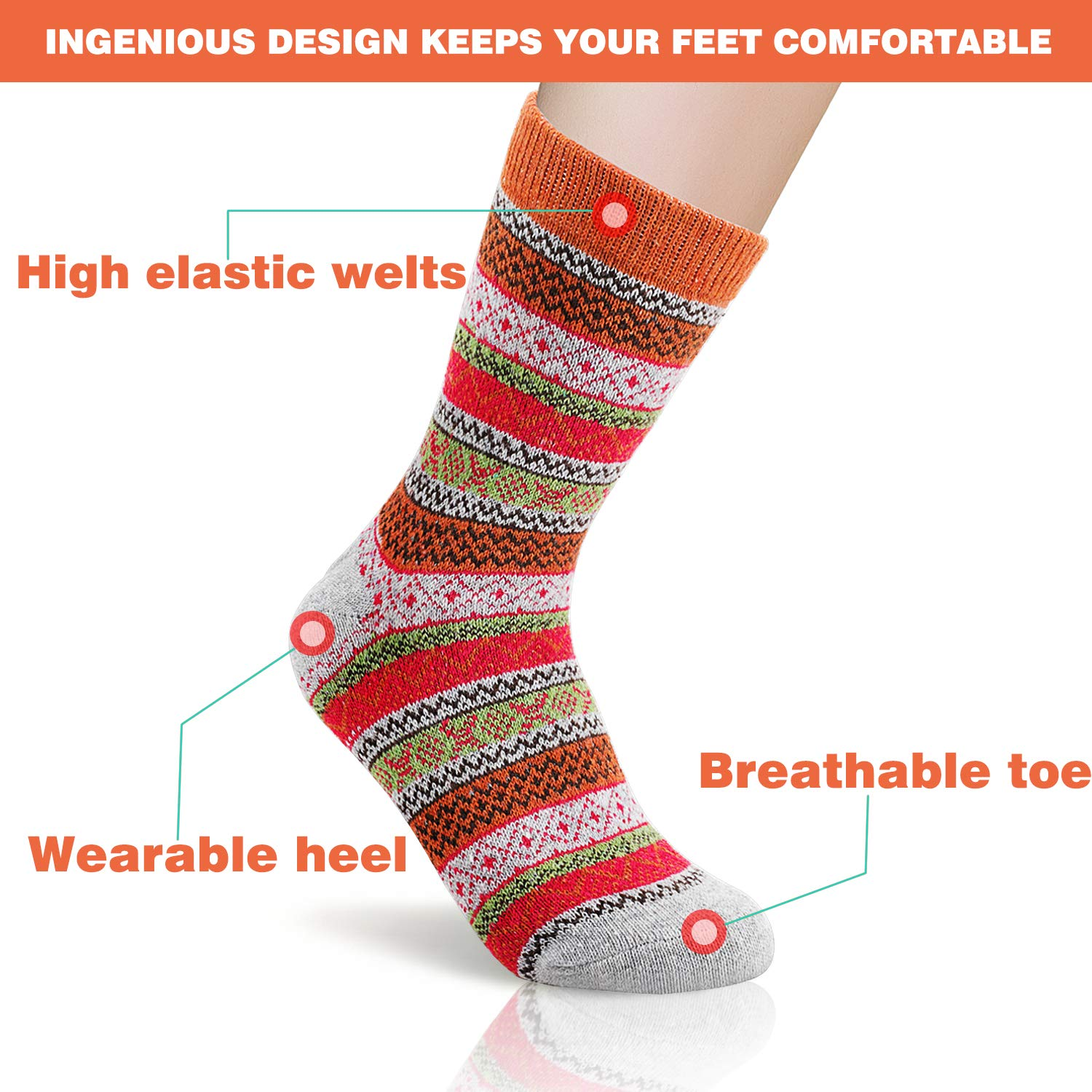 10 Pairs Women Winter Wool Socks, Cozy Winter Crew Sock with Multi Color