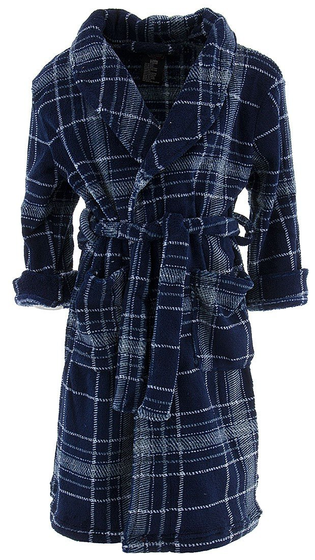 MacHenry Originals Little Boys' Navy Gray Plaid Bathrobe S/4-5