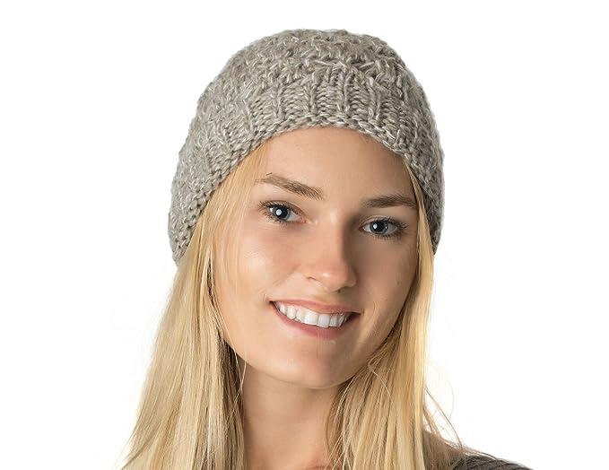 f49d6dedd92257 an Beige Diamond Crochet Open Weave Slouchy Knit Beanie Lined Midweight