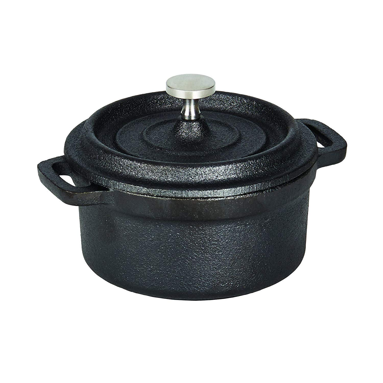 Casamoda 5178394 Pre-Seasoned Cast Iron Mini Pot with Lid, 5-Inch