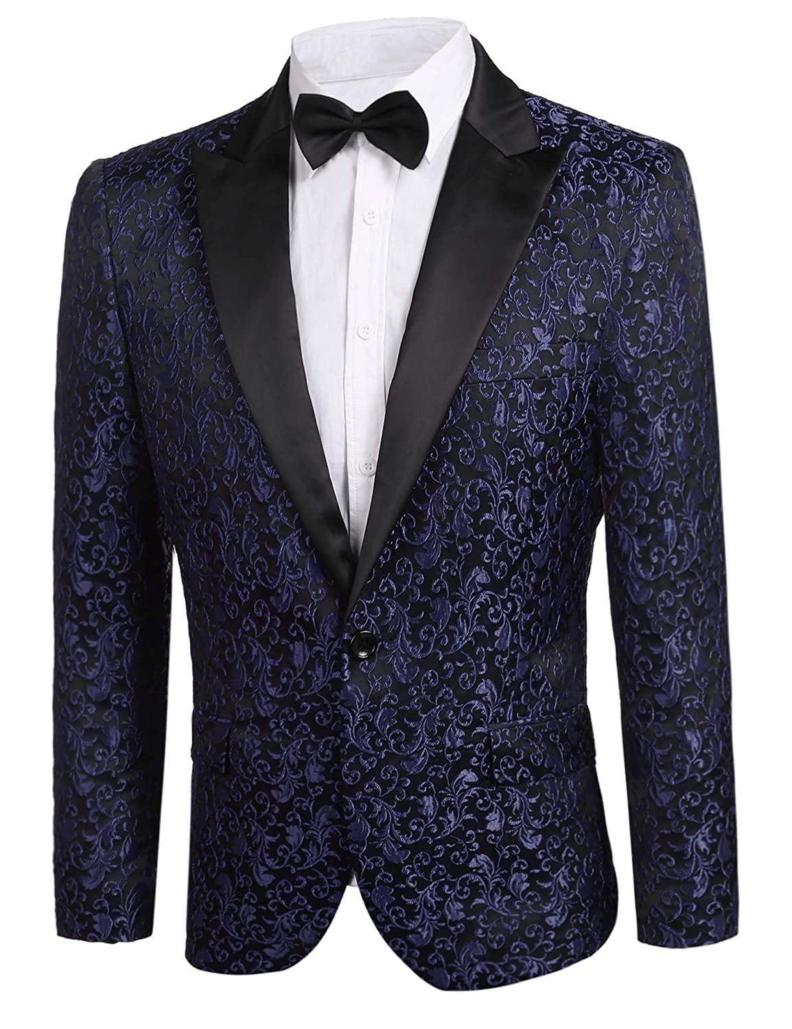 JINIDU Mens Floral Party Dress Suit Stylish Dinner Jacket Wedding Blazer Prom Tuxedo