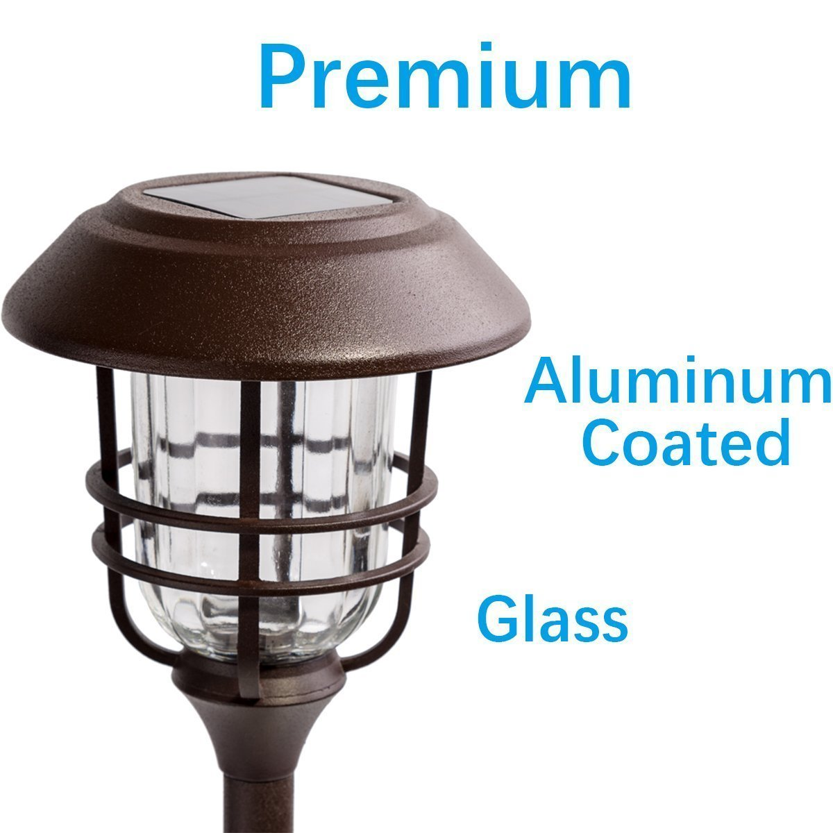 Solar Lights Outdoor Pathway - 4 Pack Bright Glass Solar Powered LED Garden Path Landscape Lighting Bronze Powder Coated Die Casting Aluminum Patio Path Lights Heavy-Duty for All Weather (Bronze) by Sunwind (Image #3)