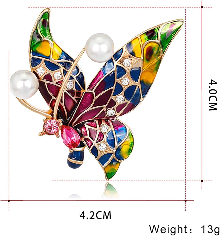 YONGHUI Broche papillon en /émail color/é avec strass et perles pour femme