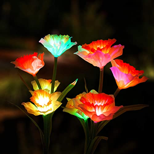 Marcoah Upgraded Solar Flower Lights – Outdoor Waterproof LED Flowers for Garden, Path, Landscape, Patio, and Lawn Daffodil, White and Orange – 2 Pack