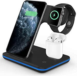 Wireless Charger 3 in 1 Wireless Charging Station for Apple Watch 5/4/3/2/1 & AirPods,Wireless Charging Station 15W Qi Fast Charger for Airpods Pro iPhone 11/11 Pro Max/XR/XS/X/8/8P