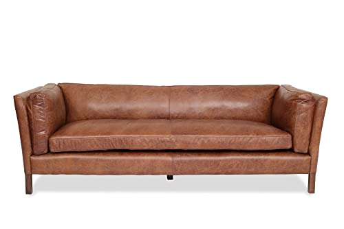 Edloe Finch Modern Leather Sofa – Mid Century Modern Couch – Top Grain Brazilian Leather – Cognac Brown