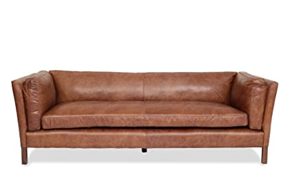 Edloe Finch Modern Leather Sofa   Mid Century Modern Couch   Top Grain  Brazilian Leather