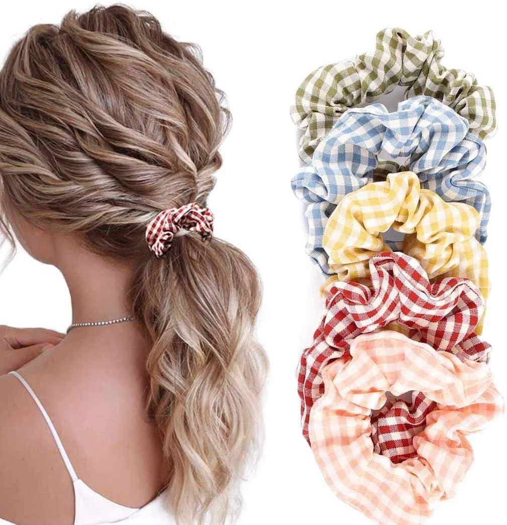 Awanka - Coleteros para el pelo con diseño de cuadros amarillos, bandas elásticas de algodón para mujeres y niñas, 5 unidades