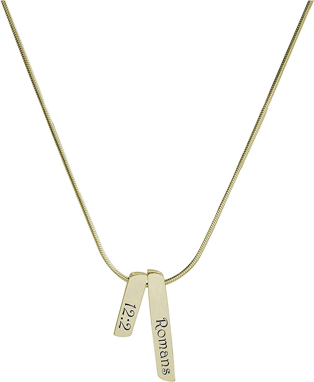 Gold Pink Box Double Bar Bible Verse Necklace Romans 12:2