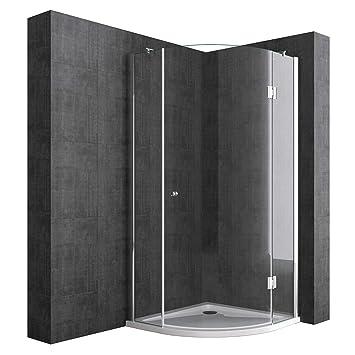 Duschabtrennung Viertelkreis 80 x 80 cm 8mm ESG-Sicherheitsglas, Eck-Dusche  mit Lotuseffekt durch Nano-Beschichtung Ravenna06K