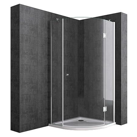 Duschabtrennung Viertelkreis 100 x 100 cm 8mm ESG-Sicherheitsglas Inkl. Duschtasse, Eck-Dusche mit Lotuseffekt durch Nano-Bes