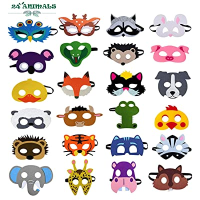 24 Pcs Felt Animal Mask for Kids Jungle Theme Party Supplies Safari Animals Birthday Party Favors: Clothing
