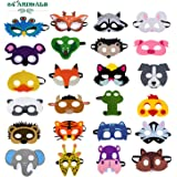 24 Pcs Felt Animal Mask for Kids Jungle Theme Party Supplies Safari Animals Birthday Party Favors