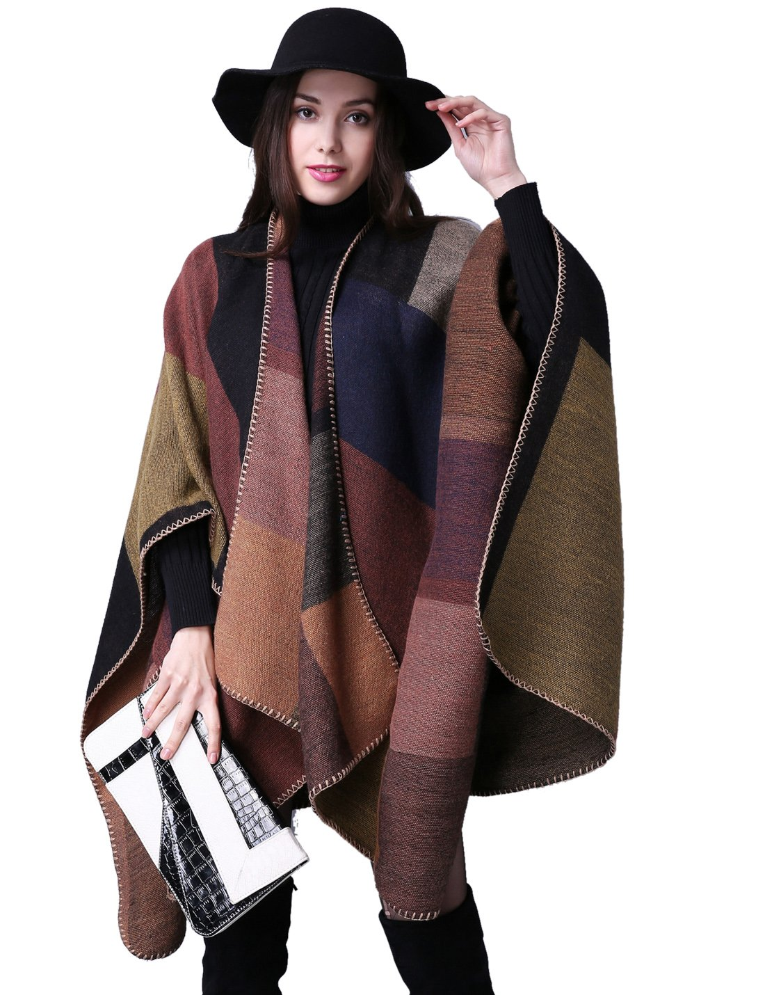 Gihuo Women's Color Block Plaid Open Front Shawl Poncho Cape Wrap Cardigan (Khaki) by Gihuo (Image #2)