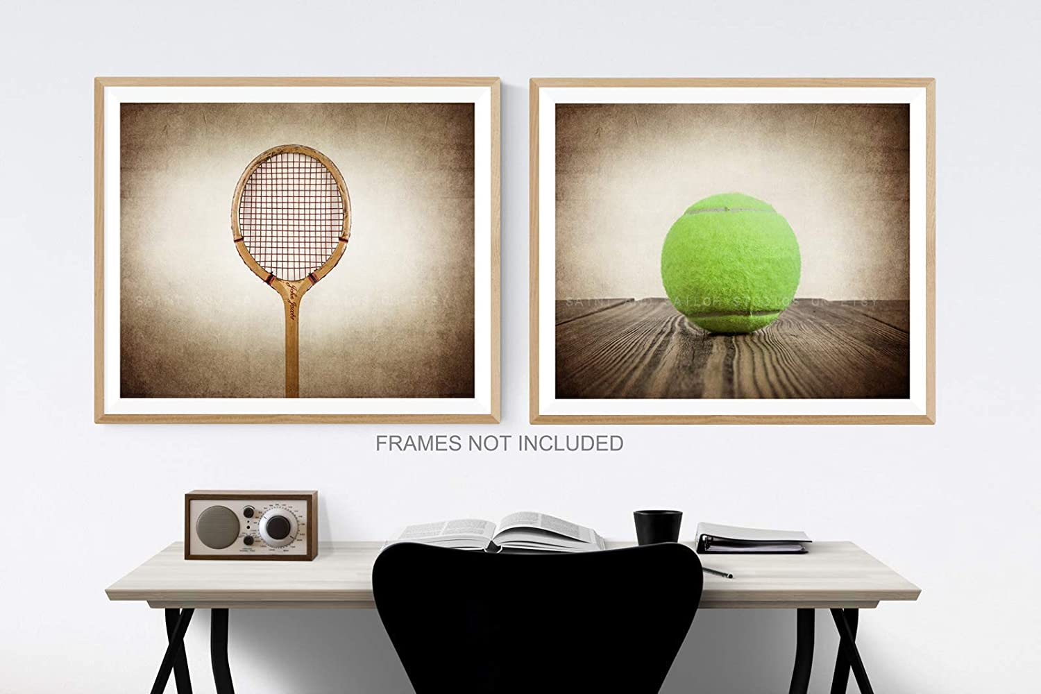 Set of 2 Sports Decor Available as print or canvas. Vintage Tennis Ball and Racket Wall Art