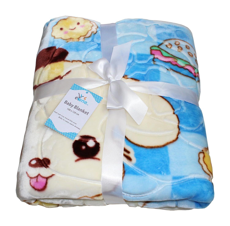 Luxury Boy Large Super Soft Fleece Baby Blanket With Animal Print for Car Seat, Cot, Pram (Blue, 100x110cm) eYone Manufacturing