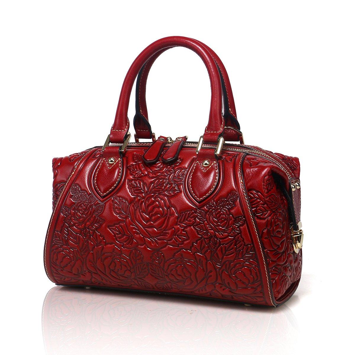 APHISON Designer Unique Embossed Floral Header Layer Cowhide Tote Style Ladies Top Handle Bags Handbags (Red)