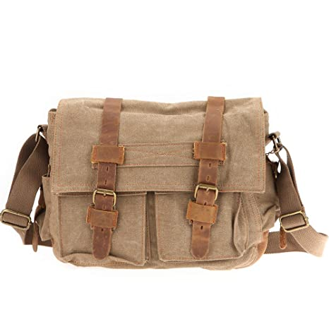 iRULU 32 Vintage lona mochila cartera hombro Messenger Bag Sport Mochila (Marrón)