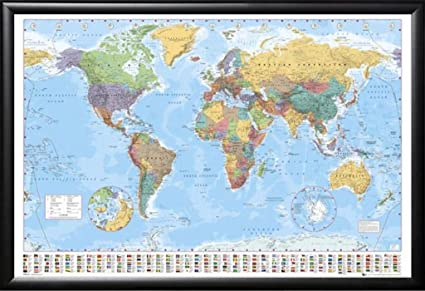 Amazon framed color political map of world with country flags framed color political map of world with country flags 24x36 dry mounted poster in basic detail gumiabroncs Images