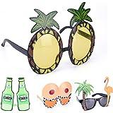 SevenMye Pack of 4 Funny Hawaiian Tropical Sunglasses Glasses Summer Fancy Dress Party Costume Eyewear