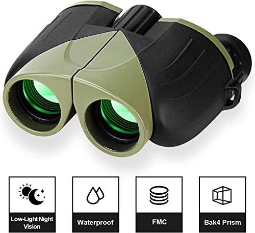 Compact Binoculars for Adults, UncleHu 12×25 Small Kids Binoculars with High Resolution Waterproof for Bird Watching,Hunting, Travel – Birthday Present for Family, Outdoor Gift for Children Green